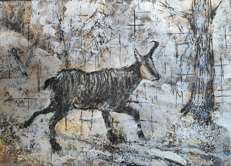 Camoscio d'inverno - 70x50 Carta catramata e colori acrilici - Gabriele Cantadore