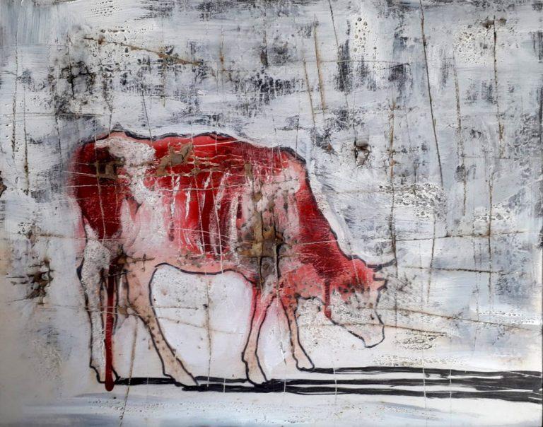 Mucca rossa e bianca - 50x39 - Faesite, bomboletta spray e colori acrilici - Gabriele Cantadore