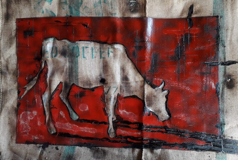 Rosso con mucca - 120x85 - Juta e carta catramata - Gabriele Cantadore