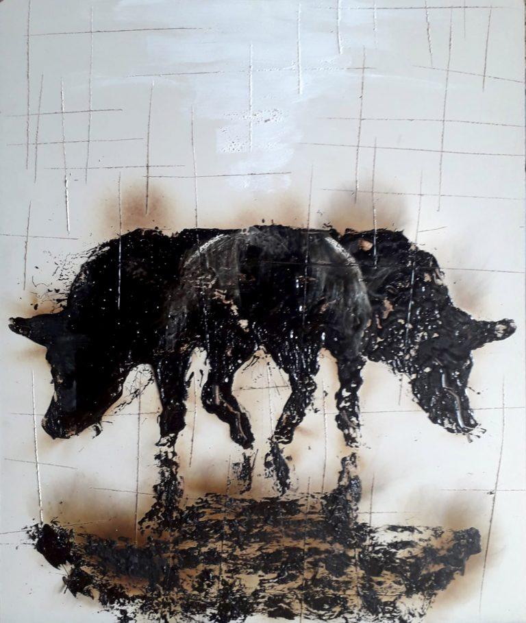 Maiale serie fattoria - 53x63 - Catrame su faesite - Gabriele Cantadore